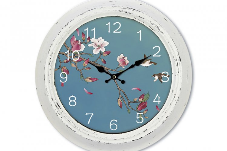 Floral Classic Wall Clock in White Antique Finish