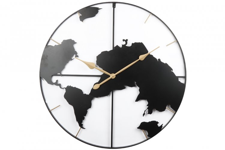 Minimal Map Wall Clock in Black Colour